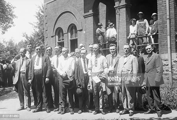 July 121925 The grand jury which will be reinducted front row WT Green Sheriff RB Harris W Purham TH Evans Rev James Hinds RM Green LN Rodgers HR...