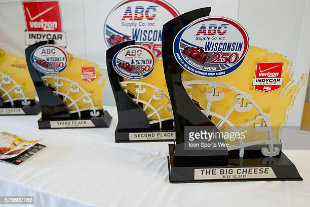 The Big Cheese trophy sits with the second and third place trophy in the media center prior to the running of the ABC Supply Wisconsin 250 at The...