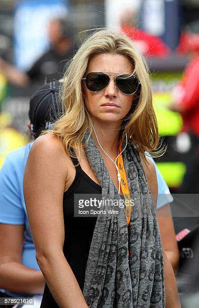 Dale Earnhardt Jr.'s girlfriend, Amy Reimann, during the running of the Sprint Cup Series Camping World RV Sales 301 at New Hampshire Motor Speedway...