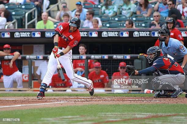 July 13, 2014 Team USA infielder Joey Gallo at bat at the All-Star Futures game at Target Field in Minneapolis MN.