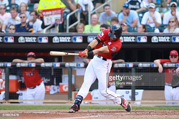 July 13, 2014 Team USA infielder Joey Gallo with a home run at the All-Star Futures game at Target Field in Minneapolis MN. USA 3 and World 2.