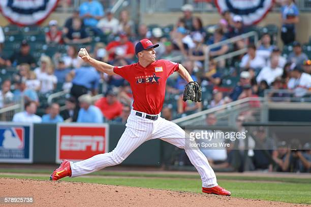 July 13 2014 Team USA outfielder Josh Bell pitching at the AllStar Futures game at Target Field in Minneapolis MN USA 3 and World 2