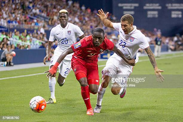 Team USA Fabian Johnson chases down Team Panama player Abdiel Arroyo during the CONCACAF Gold Cup Group Stage match between Panama and the USA at...