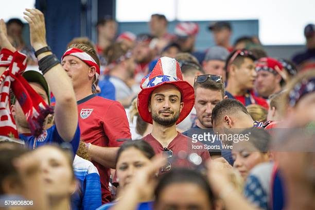 Team USA fans during the CONCACAF Gold Cup Group Stage match between Panama and the USA at Sporting Park in Kansas City Kansas The match would end in...