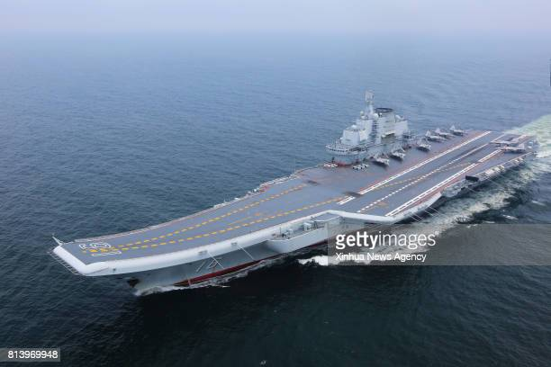 CARRIER July 13 2017 China's aircraft carrier Liaoning is seen during a new training mission upon arrival at an unidentified sea area July 13 2017...