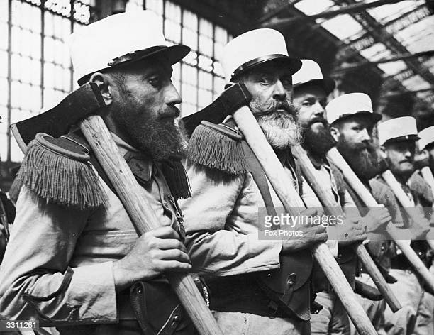 Members of the French Foreign Legion arriving in Paris for a Bastille Day parade