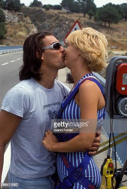 July 14 1998 Madrid Spain The french vedette Marlene Mourreau kissing whit your boyfriend Michel Guevara