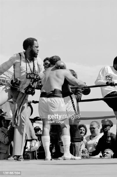 Lyle Alzado , hugs Muhammad Ali following an eight-round exhibition match at Mile High Stadium on July 14, 1979 in Denver, Colorado. Alzado was a...