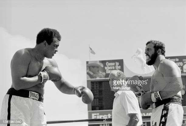 Muhammad Ali squares off against Lyle Alzado during an eight-round exhibition match at Mile High Stadium on July 14, 1979 in Denver, Colorado. Alzado...