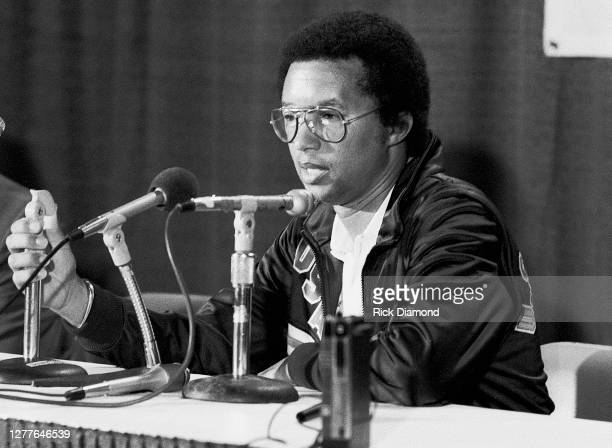 Davis Cup manager Arthur Ashe attends Davis Cup at The OMNI Coliseum in Atlanta Georgia, July 14,1984 (Photo by Rick Diamond/Getty Images