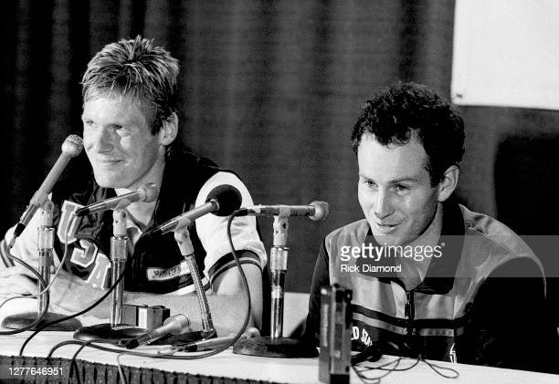 Davis Cup players Peter Fleming and John McEnroe attend Davis Cup at The OMNI Coliseum in Atlanta Georgia, July 14,1984 (Photo by Rick Diamond/Getty...