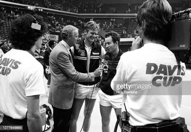 Davis Cup players Peter Fleming John McEnroe attend Davis Cup at The OMNI Coliseum in Atlanta Georgia, July 14,1984 (Photo by Rick Diamond/Getty...