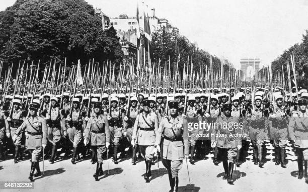 July 14th Bastille Day march along the Champs Elysees Paris by the French Foreign Legion 1939