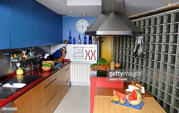 July 15 2008 Majadahonda Madrid Spain The kitchen of the house of the journalist Minerva Piquero