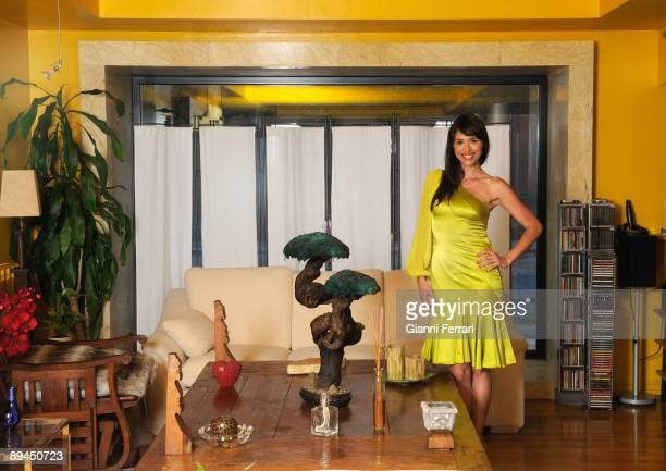 July 15 2008 Majadahonda Madrid Spain The spanish journalist Minerva Piquero in the sitting room of her house
