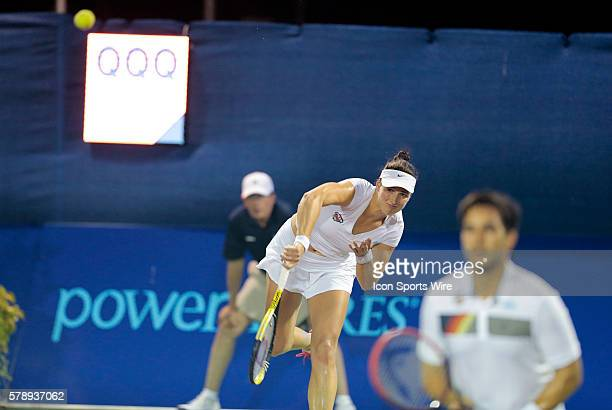 Austin Aces Eva Hrdinova serves in mixed doubles The Boston Lobsters defeated the Austin Aces 2018 in a World Team Tennis match at Boston Lobsters...