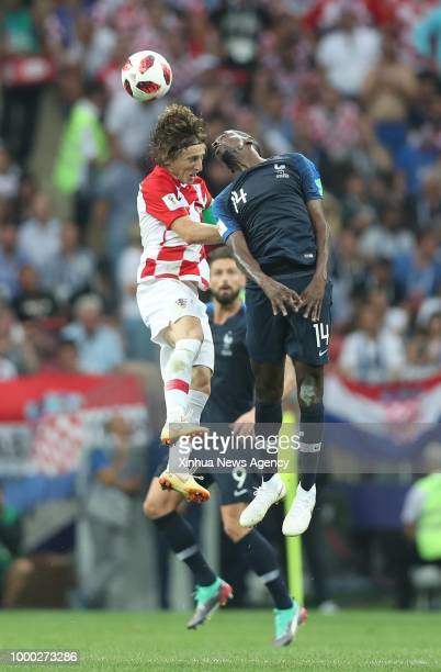 MOSCOW July 15 2018 Blaise Matuidi of France competes for a header with Luka Modric of Croatia during the 2018 FIFA World Cup final match between...