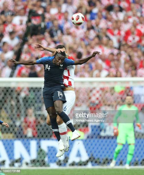 MOSCOW July 15 2018 Blaise Matuidi of France competes for a header with Dejan Lovren of Croatia during the 2018 FIFA World Cup final match between...