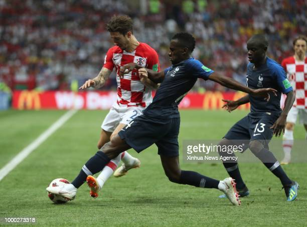 MOSCOW July 15 2018 Blaise Matuidi of France vies with Sime Vrsaljko of Croatia during the 2018 FIFA World Cup final match between France and Croatia...
