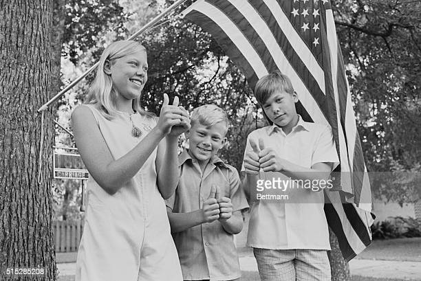 July 16 1969Seabrook Texas The children of Apollo astronaut Buzz Aldrin give a 'thumbsup' sign for their father after watching the blast off of man's...