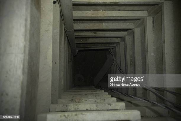 """July 16, 2015-- A ladder is seen inside the tunnel, through which allegedly escaped from prison Mexico's drug lord Joaquin """"El Chapo"""" Guzman, in..."""