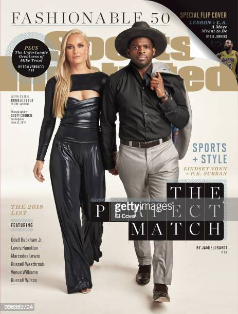 July 16 2018 July 23 2018 Sports Illustrated Cover Fashionable 50 Portrait of Nashville Predators defenseman PK Subban and USA Olympic skier Lindsey...