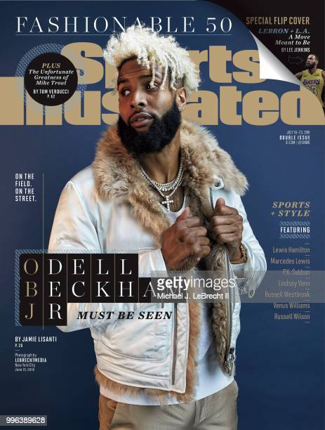 July 16 2018 July 23 2018 Sports Illustrated Cover Fashionable 50 Portrait of New York Giants wide receiver Odell Beckham Jr posing during photo...