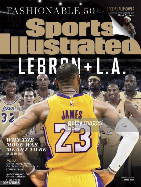 July 16 2018 July 23 2018 Sports Illustrated Cover Rear view portrait photo illustration of Los Angeles Lakers LeBron James looking at Magic Johnson...