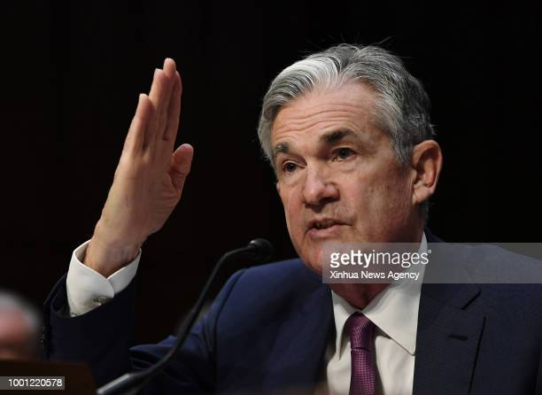 WASHINGTON July 17 2018 US Federal Reserve Chairman Jerome Powell testifies before the Senate Banking Committee on Capitol Hill in Washington DC the...