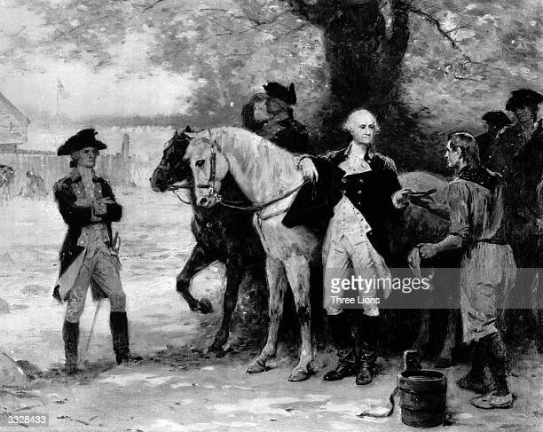 George Washington Commander of the American Forces during the American Revolutionary War talking at Half Way Brook during his 1783 tour of inspection...