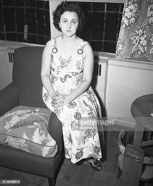 July 18 1950 New York Mrs Ethel Rosenberg talks to reporters in her Knickerbocker Village home after her husband Julius was arrested by the FBI on a...