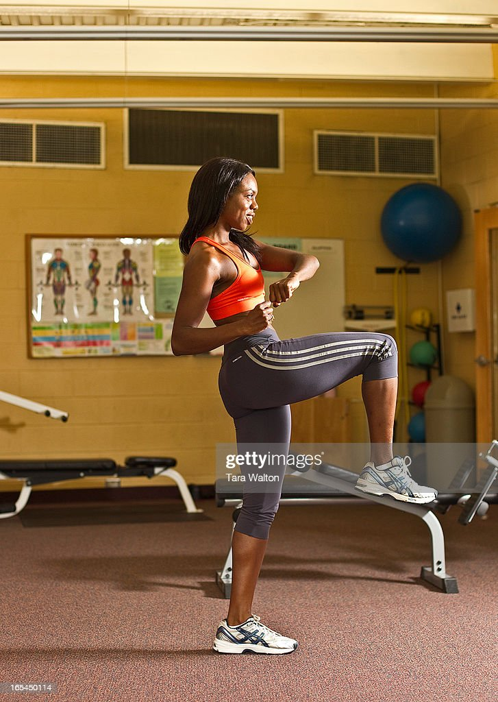 July 18, 2010-CARIBANA EXERCISES-FIGHTER LUNGE, POSE B. This exercise works your glutes, thighs, leg : News Photo