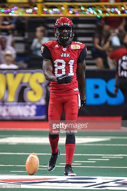 Jacksonville Sharks wide receiver Joe Hills celebrates a touchdown during the game between the Philadelphia Soul and the Jacksonville Sharks at...