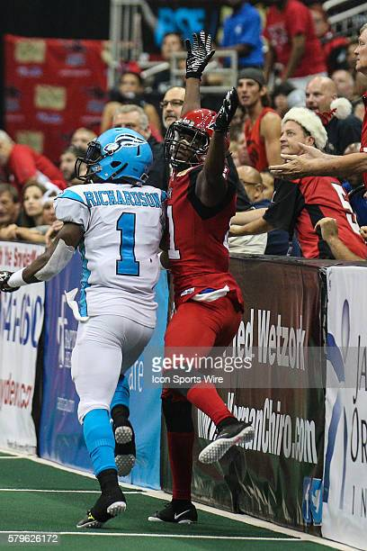 Jacksonville Sharks wide receiver Joe Hills looks for a penalty call during the game between the Philadelphia Soul and the Jacksonville Sharks at...