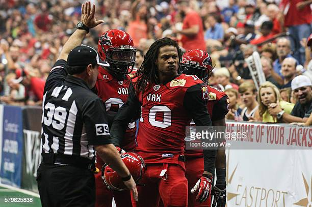 Jacksonville Sharks wide receiver/defensive back Terrance Smith reacts after a tackle during the game between the Philadelphia Soul and the...