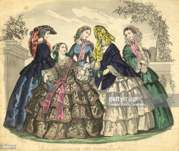Flounced crinolines shawls and lace for the summer of 1857