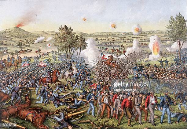 US Civil War 186165 A wide view of a portion of the Battle of Gettysburg Pennsylvania 13 July 1863 This series of battles taking place over three...