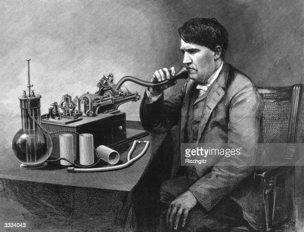 The inventive genius Thomas Edison speaking through a perfected phonograph Original Publication Illustrated London News pub 1888