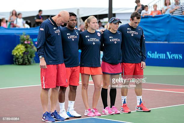 Kastles line up for the anthem The Washington Kastles defeated the Boston Lobsters 239 in a World Team Tennis match at Boston Lobsters Tennis Center...