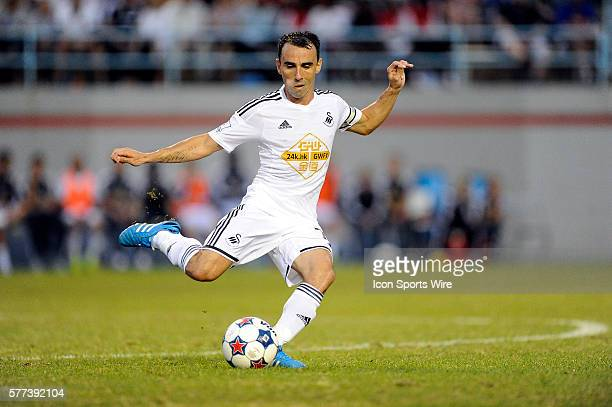 Swansea City AFC Swans midfielder Leon Britton passes the ball against Minnesota United Loons during an international club friendly soccer match at...