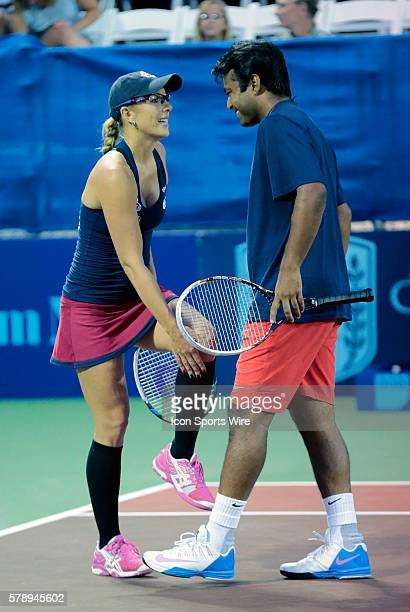 Washington Kastles Anastasia Rodionova and Washington Kastles Leander Paes share a laugh in mixed doubles The Washington Kastles defeated the Boston...
