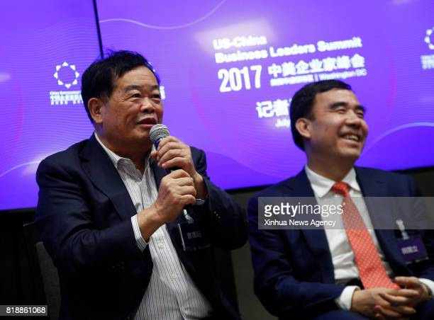 WASHINGTON July 19 2017 Cao Dewang chairman of the world's top automotive glass manufacturer Fuyao Glass speaks at a press briefing of the ChinaUS...