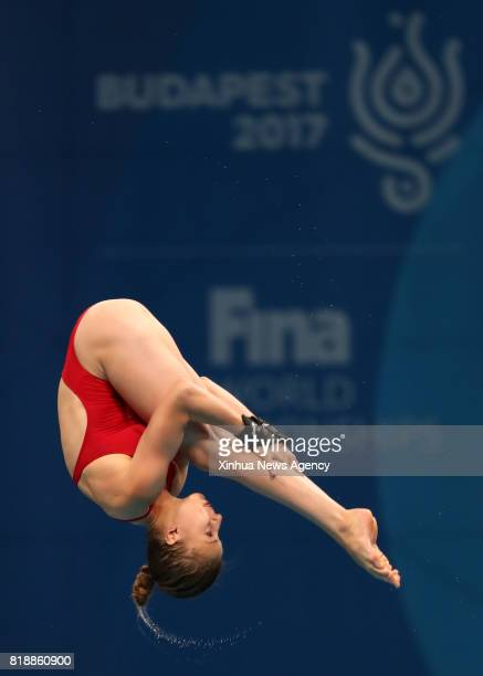 BUDAPEST July 19 2017 Laura Marino of France competes during the Mixed 3m 10m Team final at the 17th FINA World Championships at Duna Arena in...