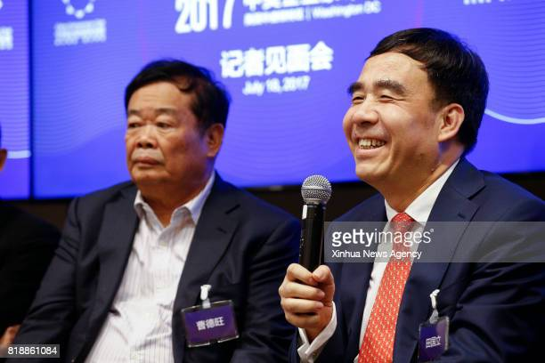 WASHINGTON July 19 2017 Tian Guoli chairman of Bank of China speaks at a press briefing of the ChinaUS Business Leaders Summit in Washington DC the...