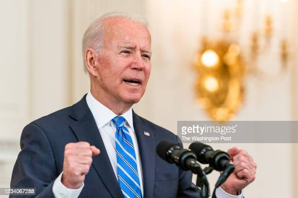 July 19, 2021: US President Joe Biden deliver remarks on economic recovery in the State Dining Room of the White House on July 19, 2021.