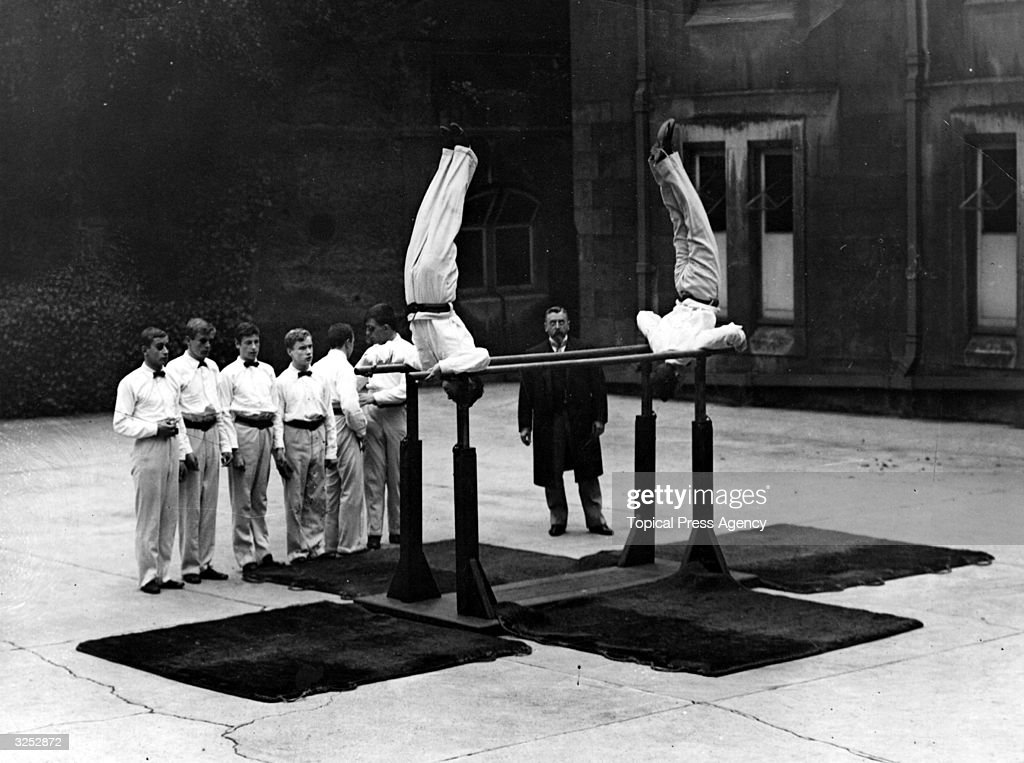 Blind boys give a gymnastic display at the Royal Normal College prize giving festival, in Upper Norwood