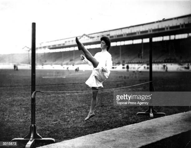 A Danish gymnast demonstrating the High Jump at the 1908 London Olympics