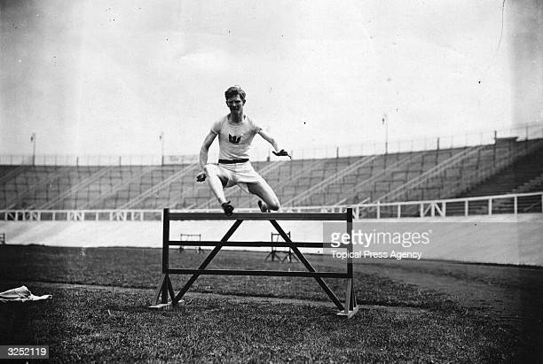 Charles Bacon of the USA winner of the gold medal for the 400 metre hurdles at the 1908 London Olympics in training