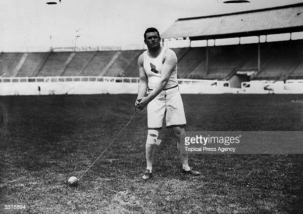 Matthew McGrath of the USA about to throw the Hammer at the 1908 London Olympics. He was the World Record holder at the time but finished second to...