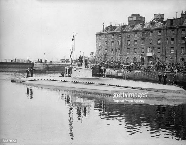 The captured German submarine UC5 moored at Sheerness